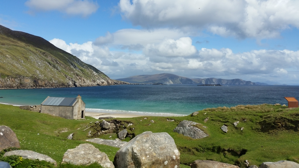 A view of Keem Beach on Achill Island, one of the most beautiful places in Ireland