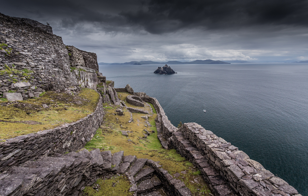 A moody sky over one of the beautiful places in Ireland, Skellig Michael.