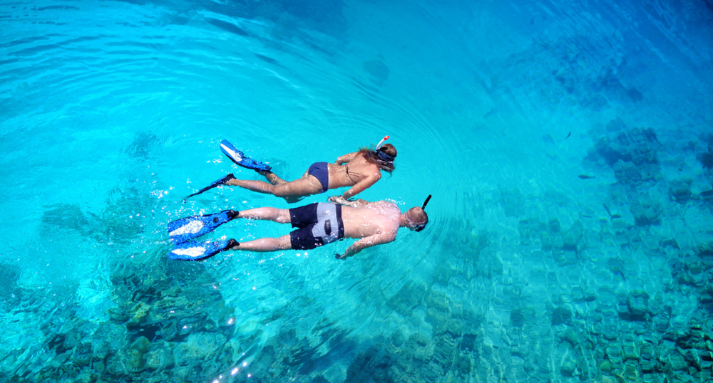 couple snorkeling on their costa rica honeymoon