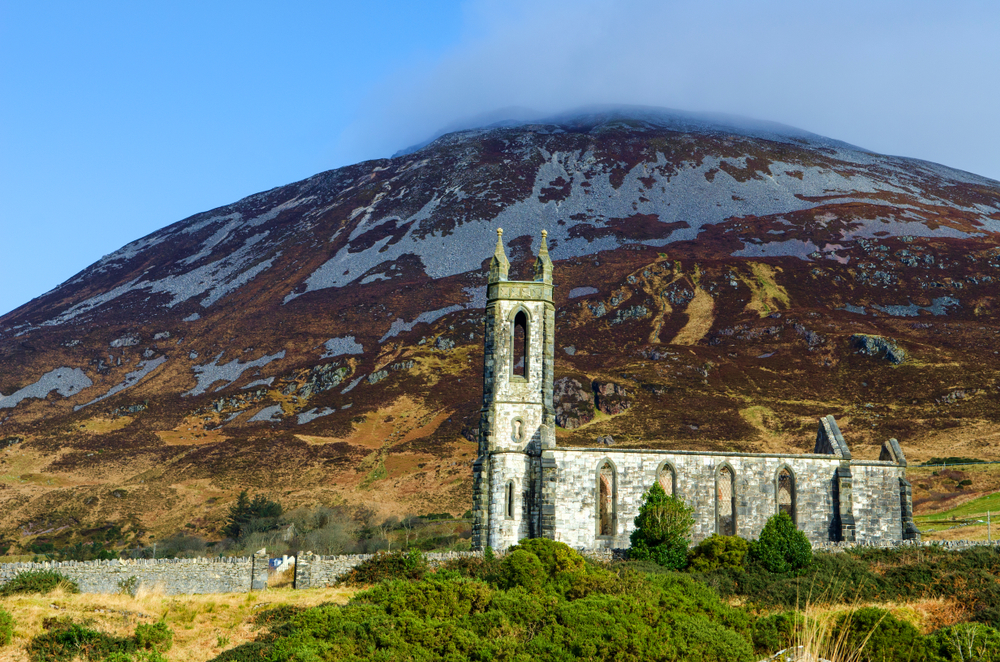 The shell of the church at Dunlewey Ruins with Mount Errigal in the background