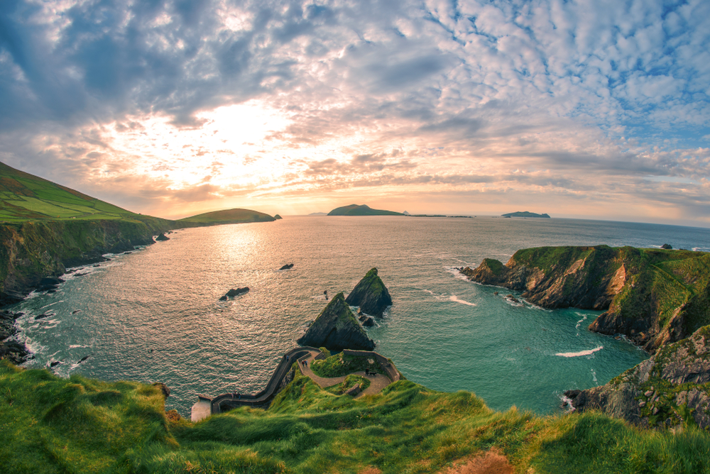 View of Dunquin Harbour at sunset