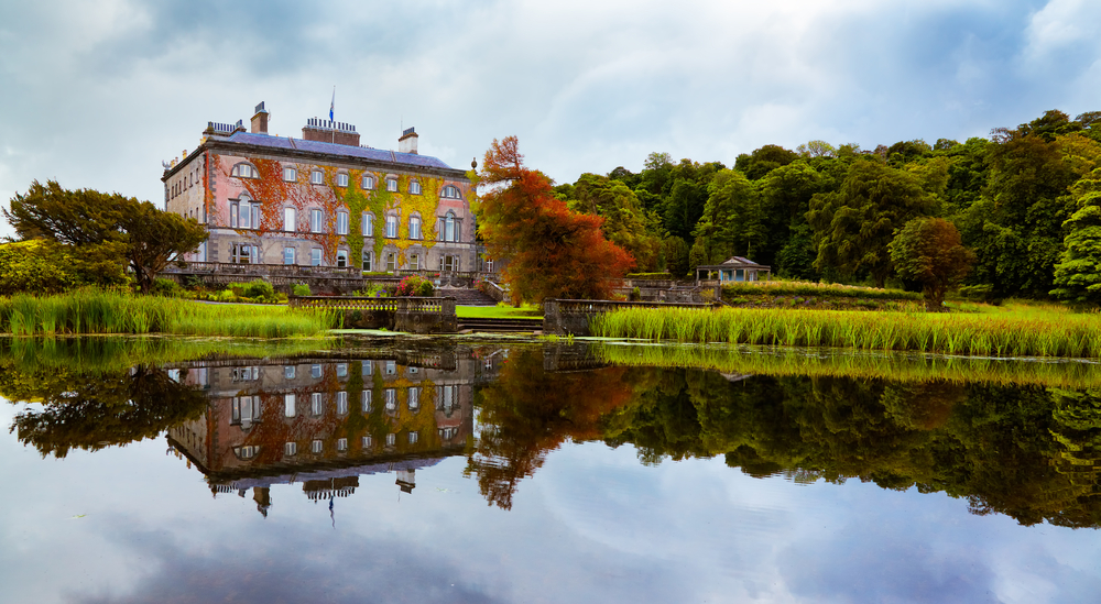 Beautiful Westport House reflected in the lake