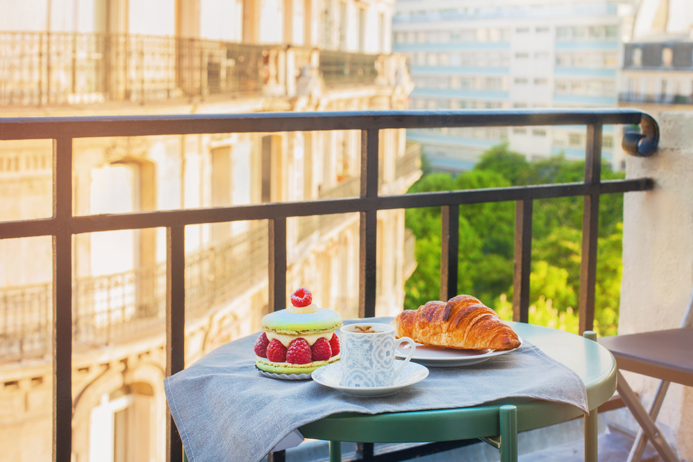 French pastries on a balcony