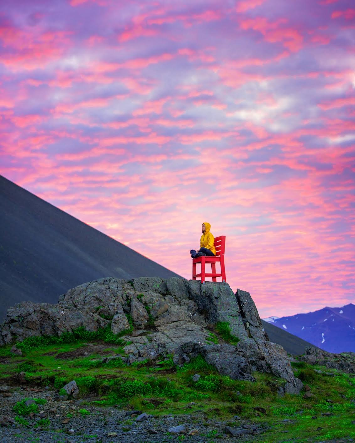 the red chair art installation on the Iceland Ring Road