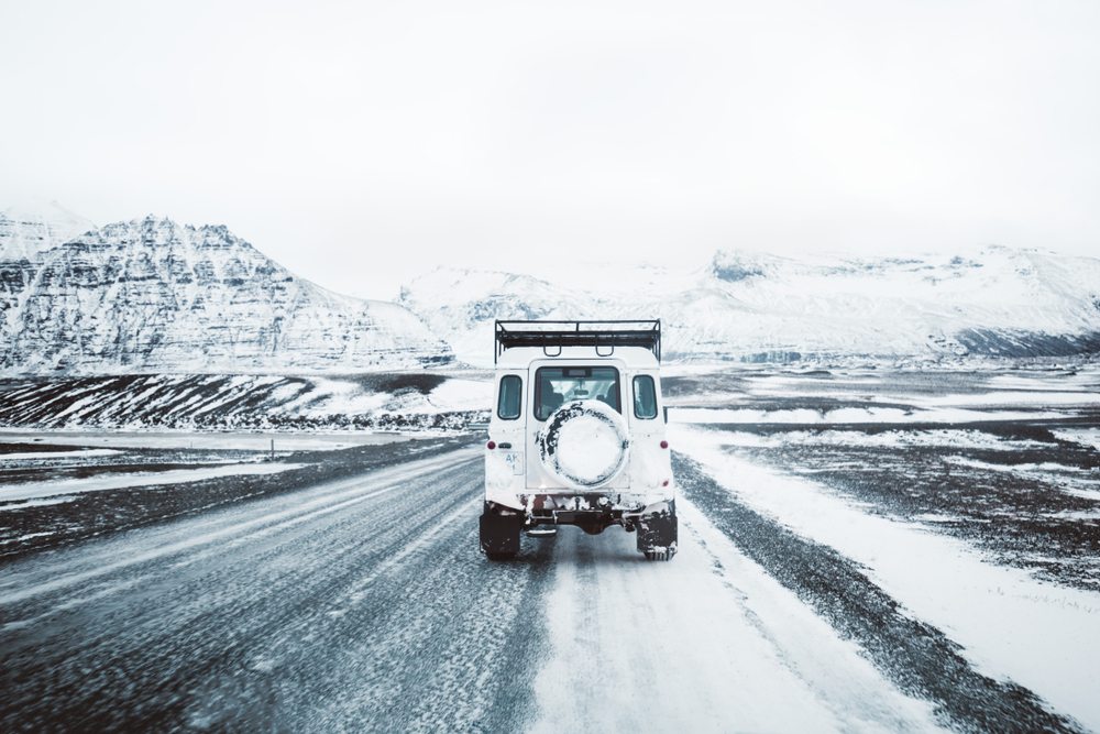 driving in the winter along the Iceland Ring Road
