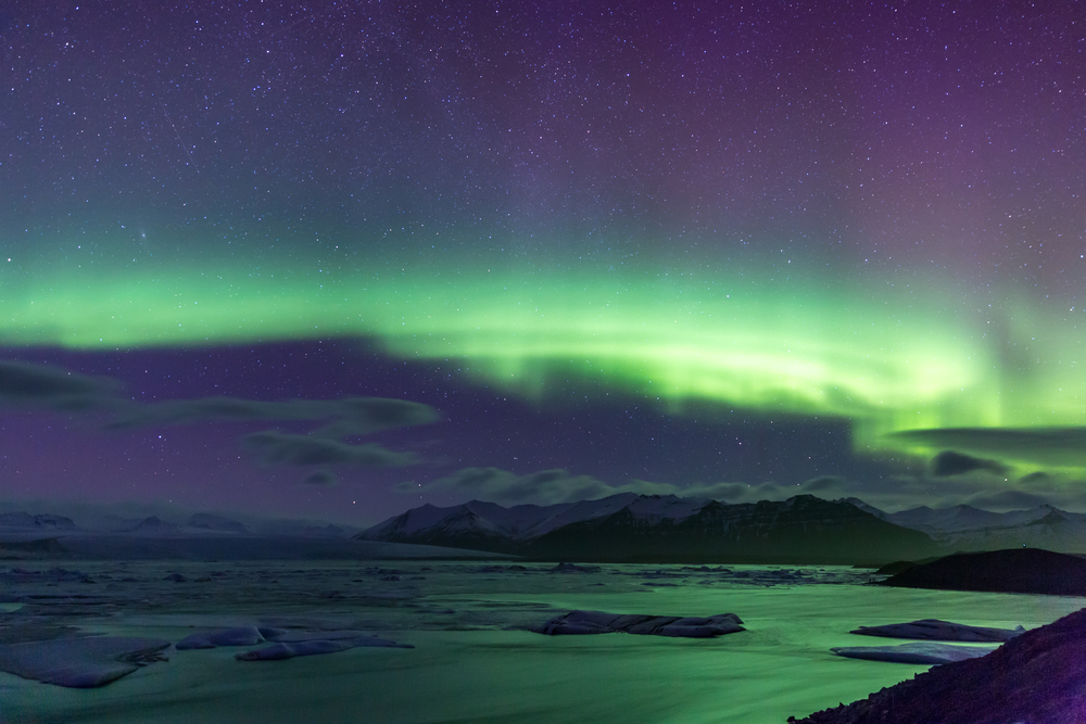The Northern Lights above a glacier lagoon