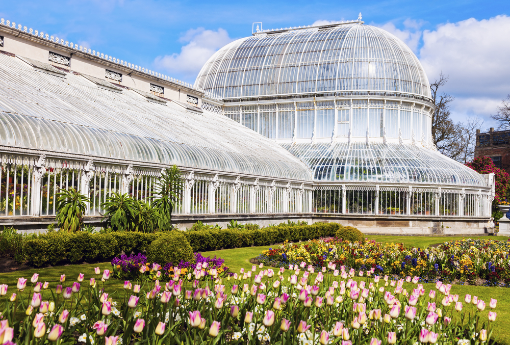 photo of the ornate palm house green house at the belfast botanic gardens. There are tulips in front of it.
