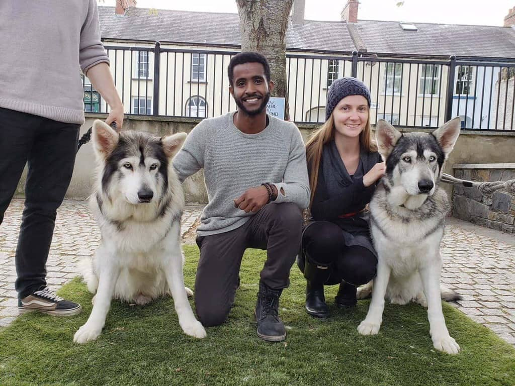 photo of Victoria and Terrence with two of the Game of Thrones Direwolves.