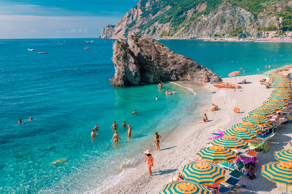 Photo of the umbrellas on Fegina beach Monterosso al Mare