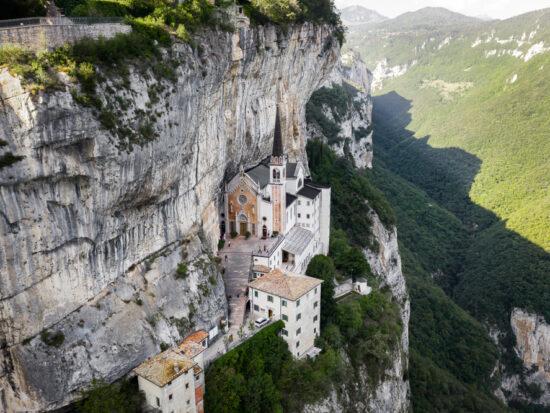 photos of the church in the mountains the Santuario Madonna della Corona