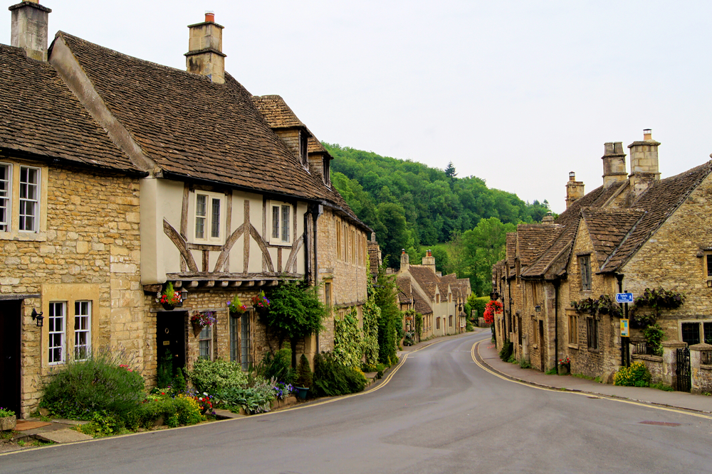photo of a street in Castle Combe, a village in southern england