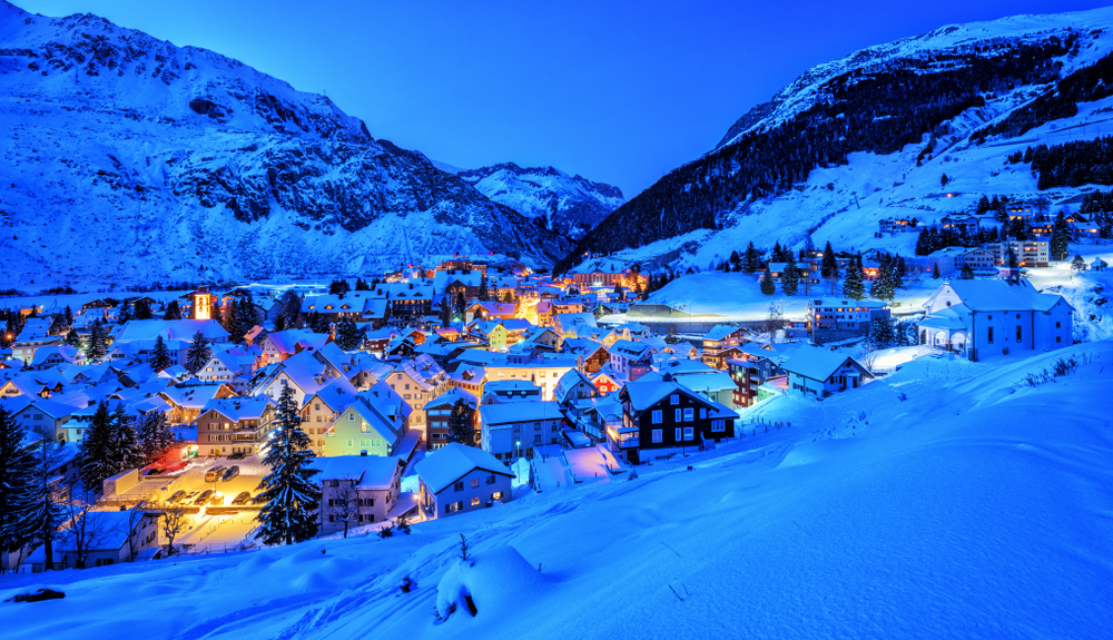 Andermatt one of the snow covered small towns in Switzerland
