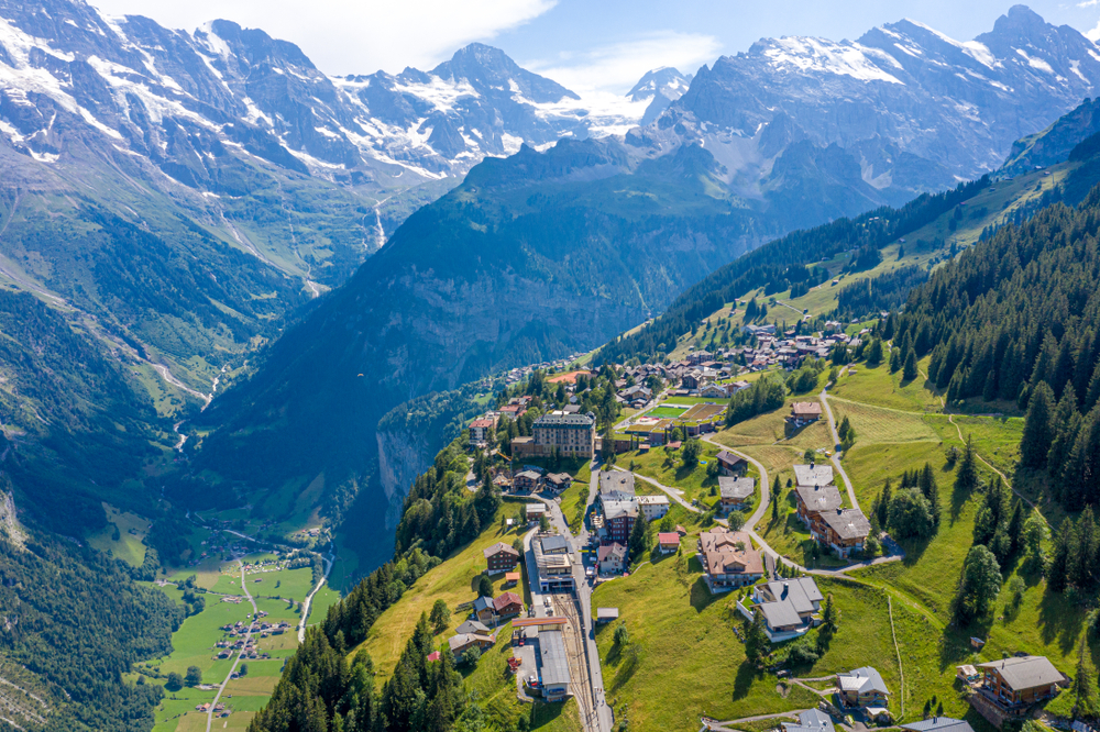 Murren sitting a top a mountain, the small Swiss town was featured in the James Bond Film 'On Her Majesty's Secret Service',