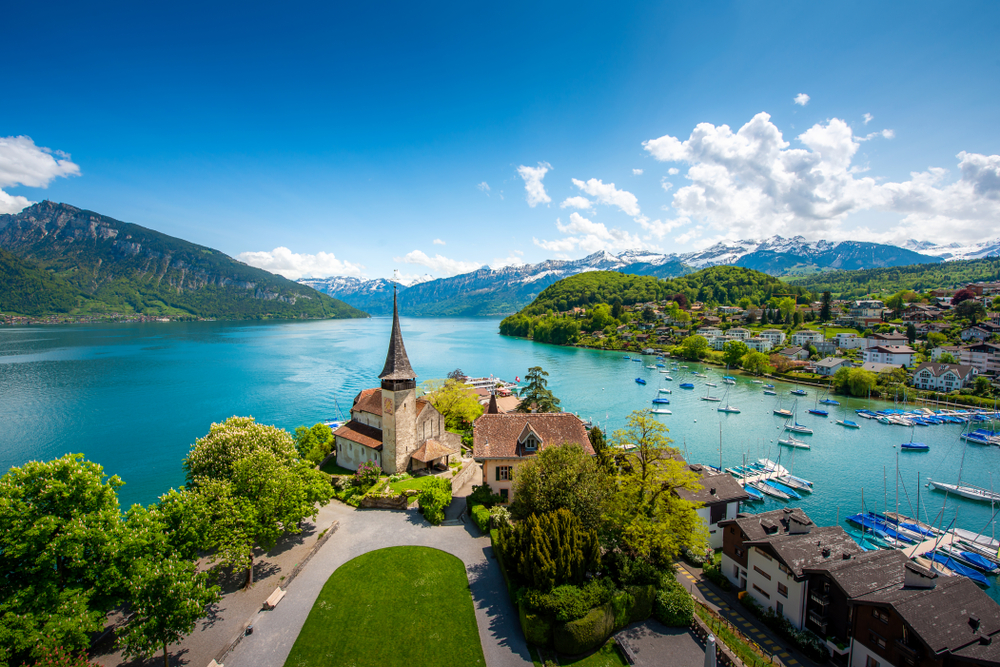 Spiez with a view of the lake and church.