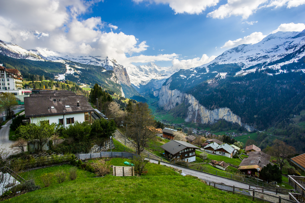 The small town of Wengen a picture perfect Swiss town of chalets and mountains