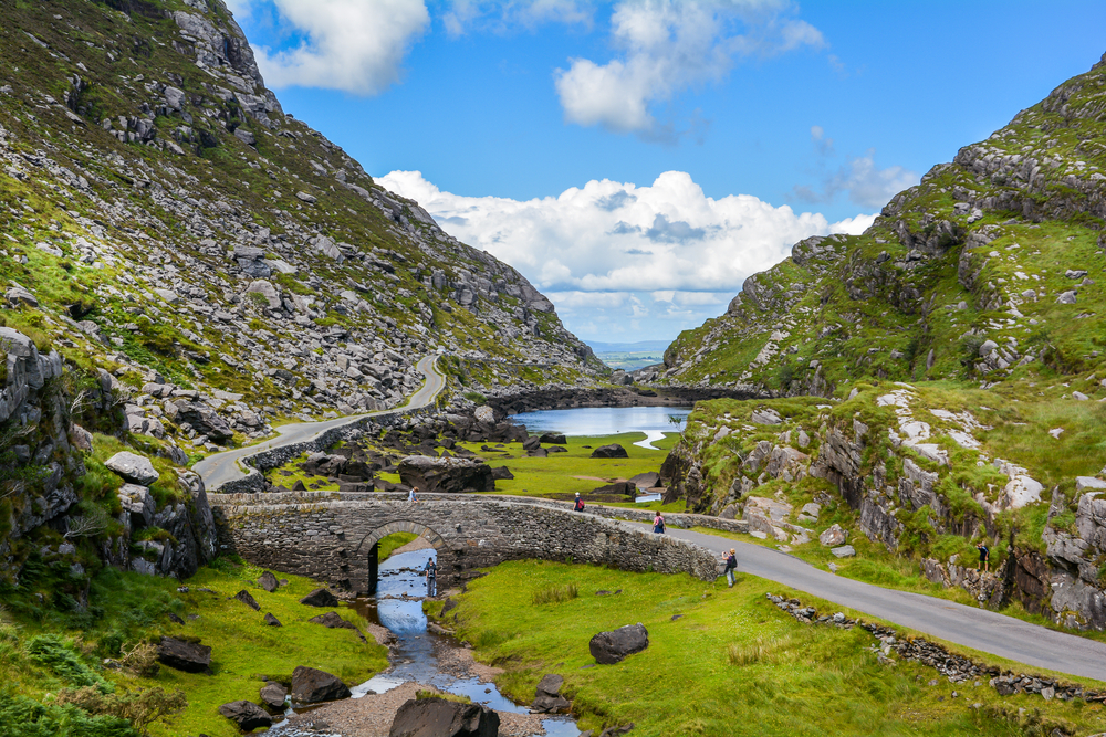 Driving in Ireland brings you to many gorgeous views like this scenic gap in County Dunloe.