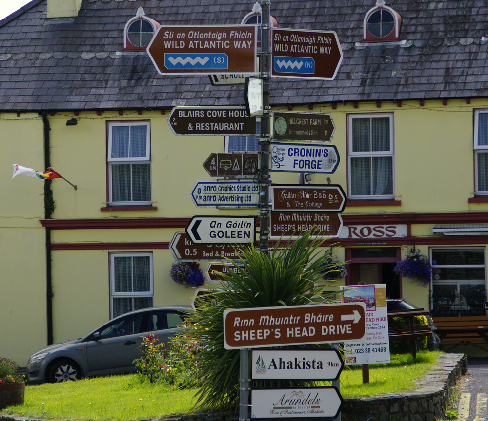 A signpost in Ireland with many confusing directions.