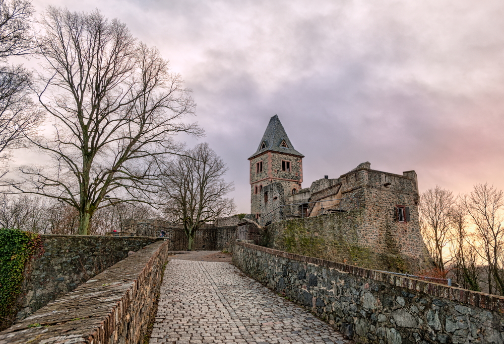 Frankensteins Castle looks foreboding and intriguing against the cloudy sky.