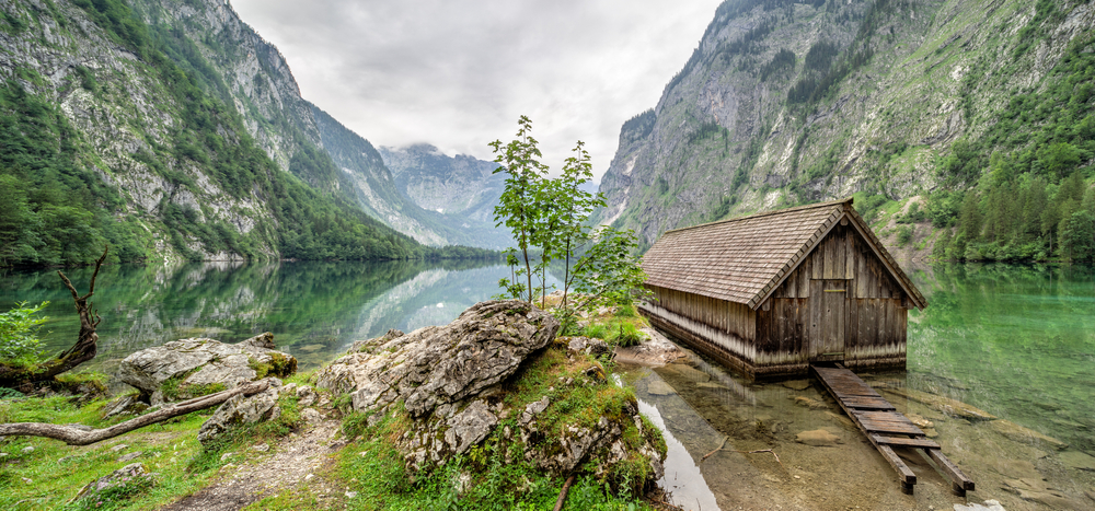 An old boat house sits near the edge of Lake Obersee, one of the most secluded hidden gems in Germany.