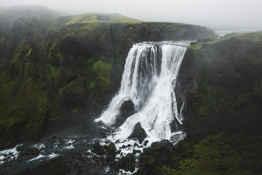 Fagrifoss with water thundering over the rocks