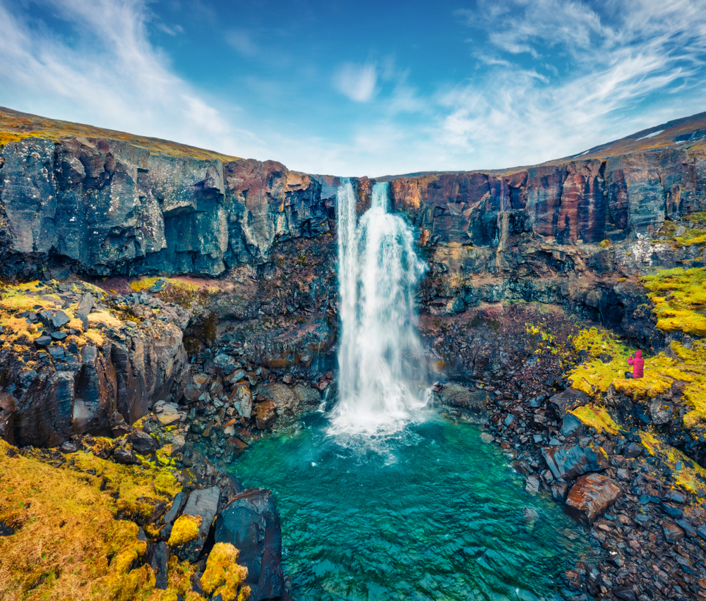 Gufufoss is a beautiful sight with water tumbling over the rocks.