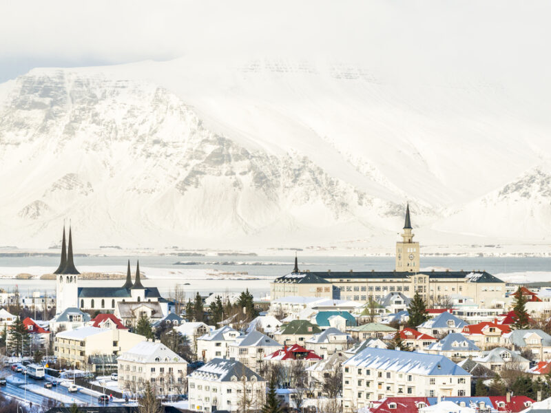 A snow topped Mount. Esja dominating the background of Reykjavik.