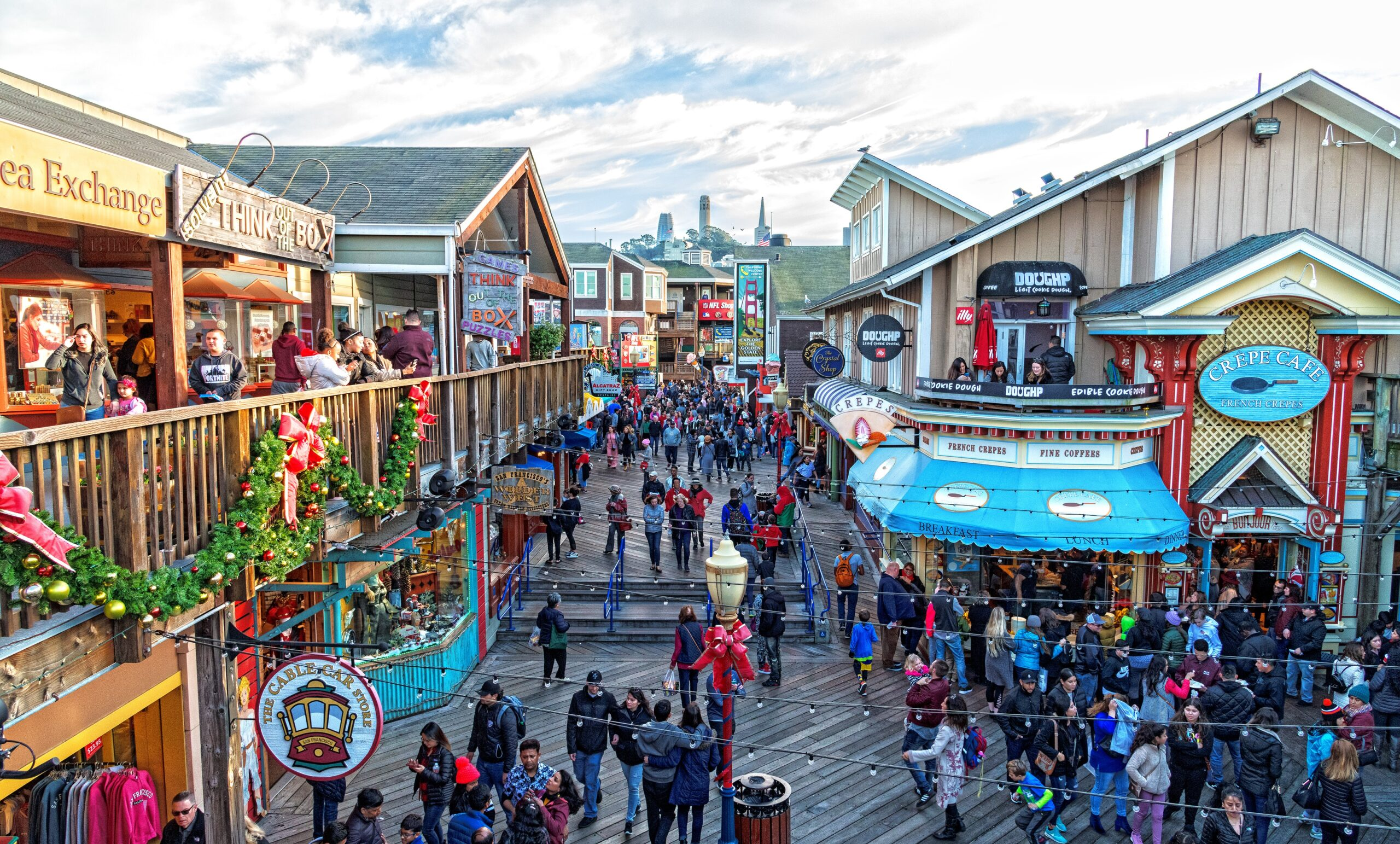 Photo of shops at Fisherman's Wharf, the best place in San Francisco for families.
