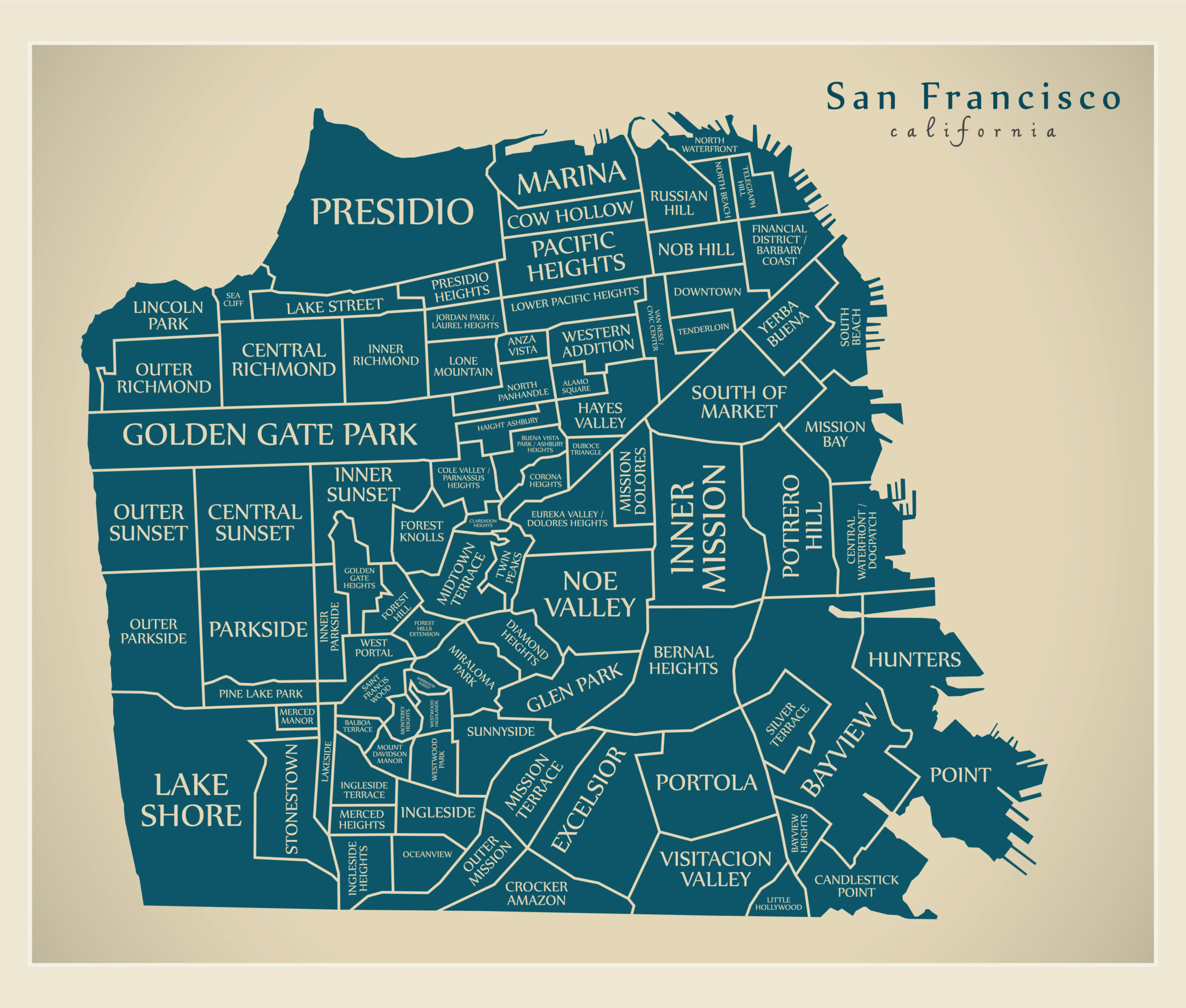 Photo of a map of San Francisco that depicts each neighborhood.