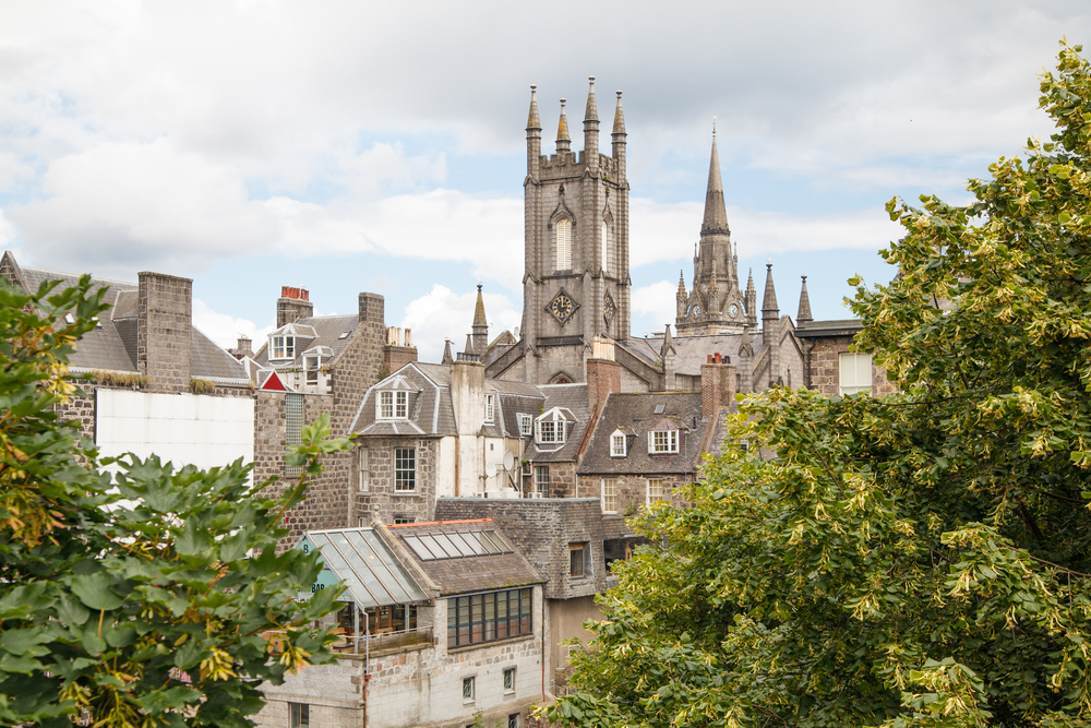 """Rooftop view of Aberdeen, """"the Granite City"""""""
