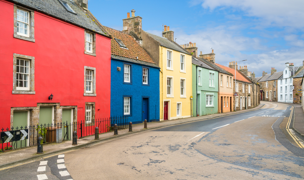 Charming view of a colorful street in Anstruther
