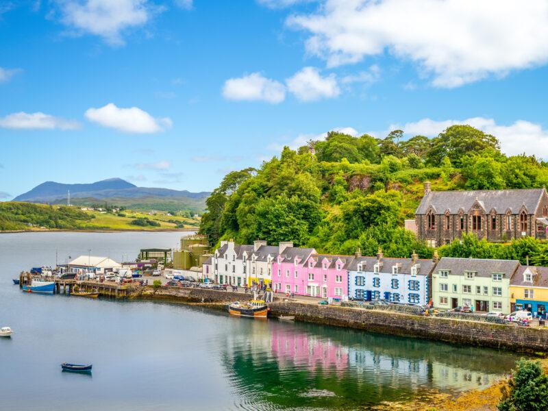 The colorful harbor in Portree Scotland