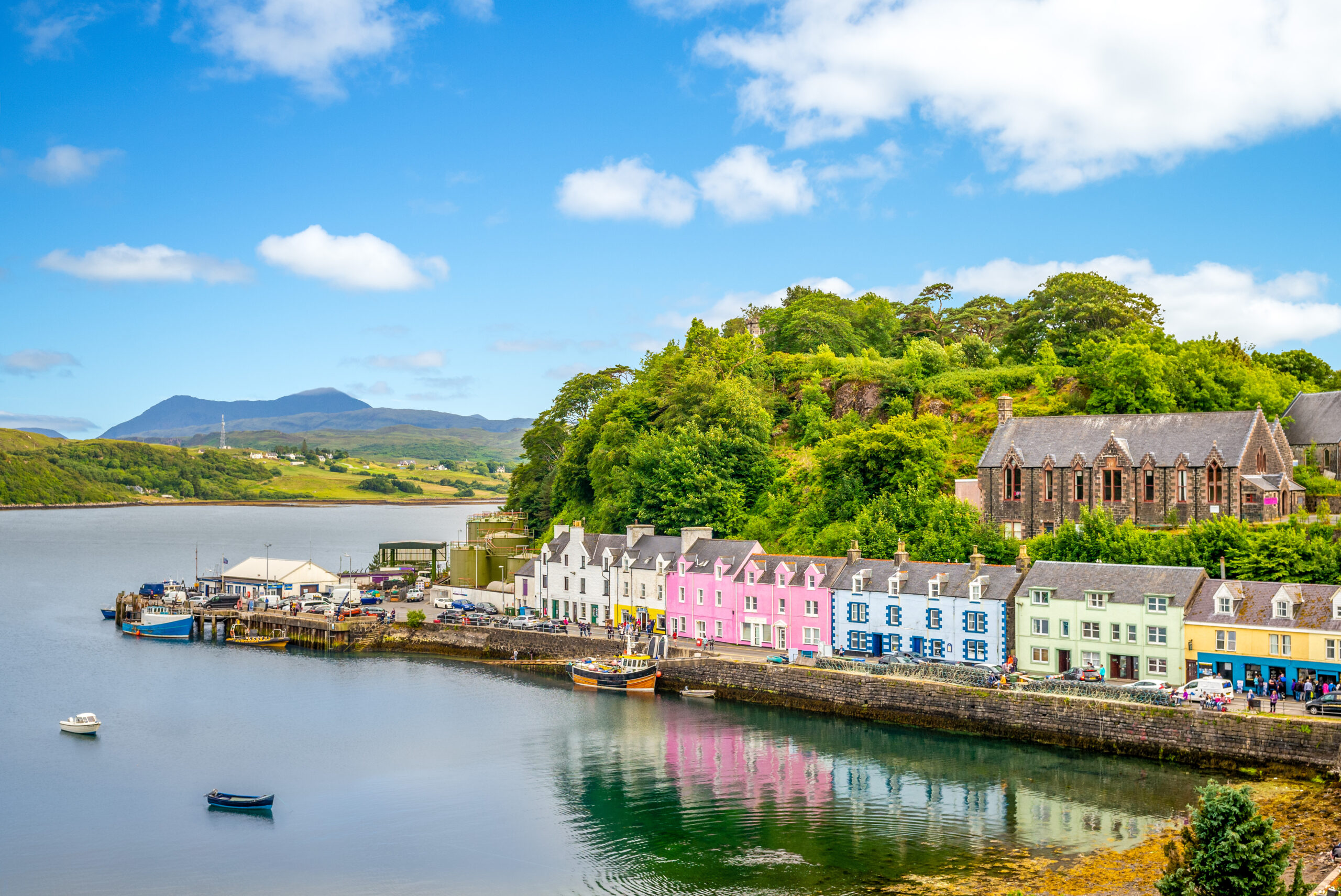 View of the colorful harbor of Portree