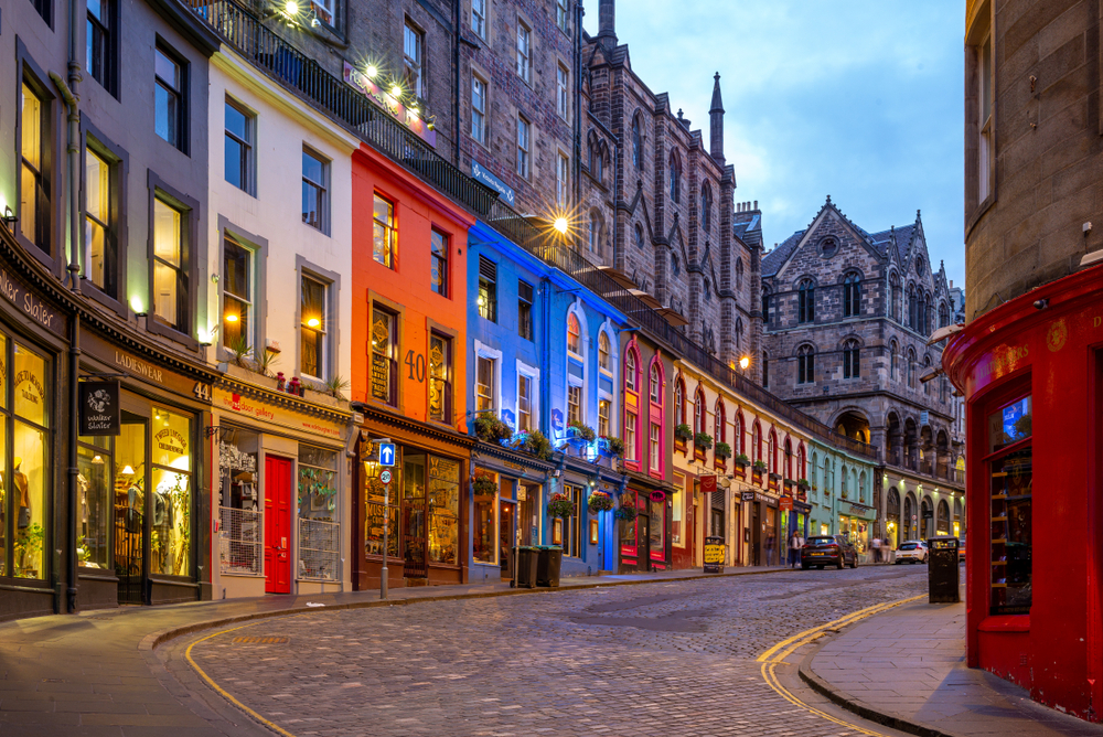 A well lit street in Edinburgh, one of the best places to see in Scotland