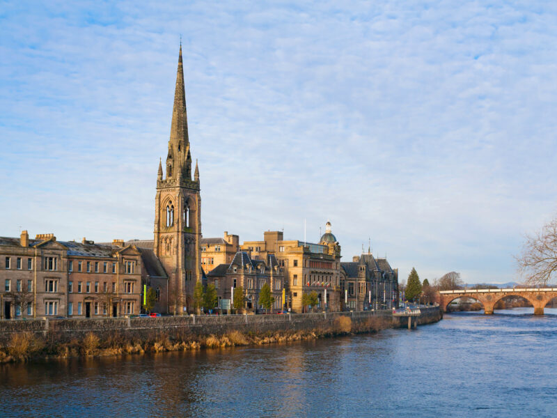 View of Perth, Scotland overlooking the river Tay