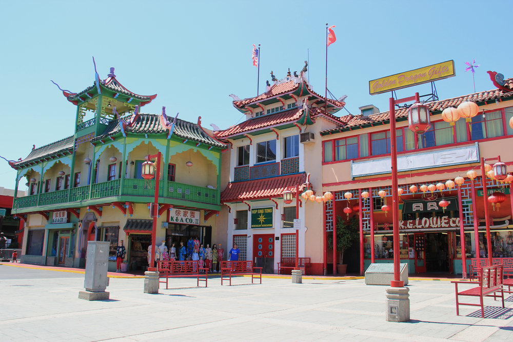 view of the buildings in Los Angeles' Chinatown
