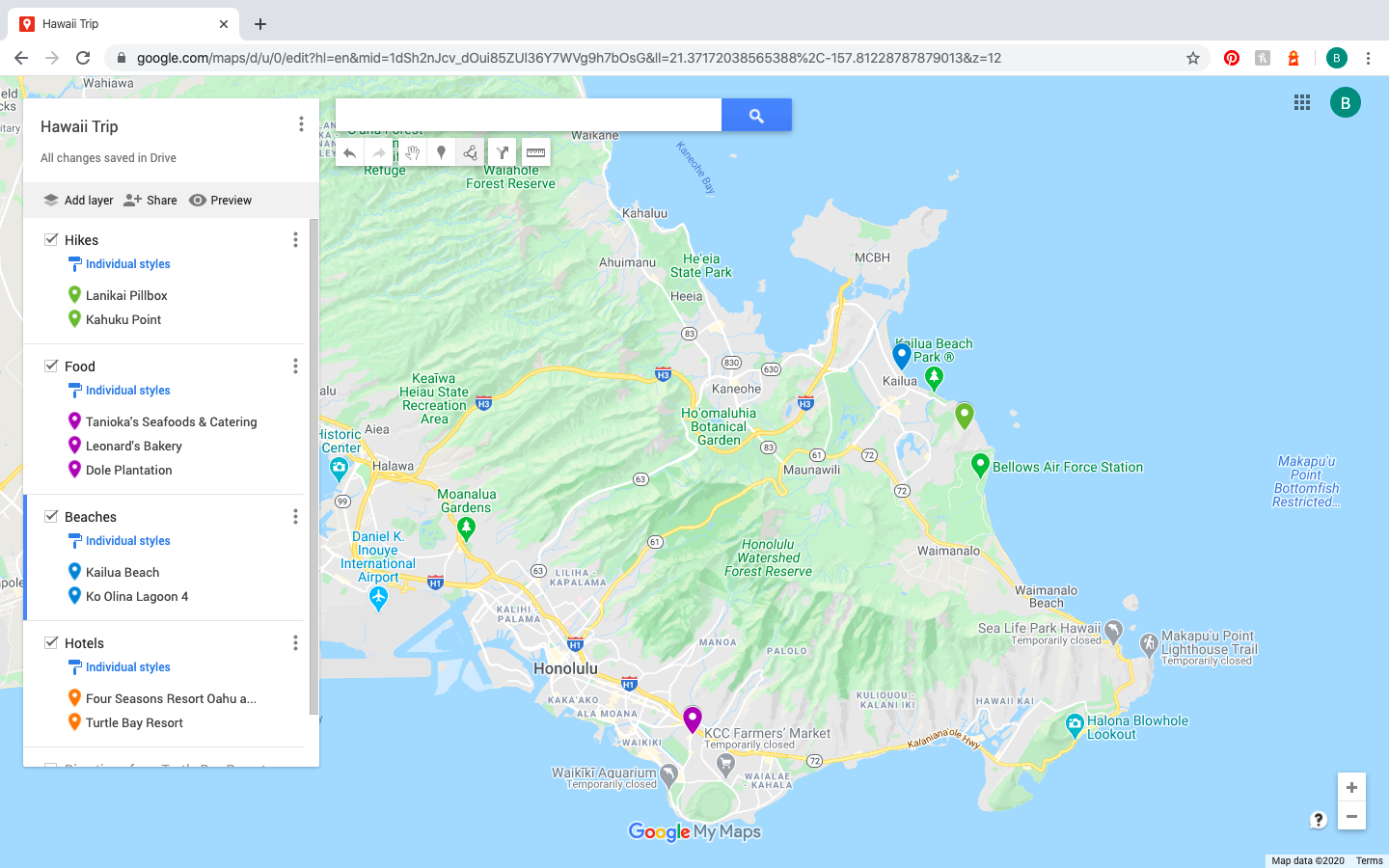 cluster of pins on Google Maps Trip Planner