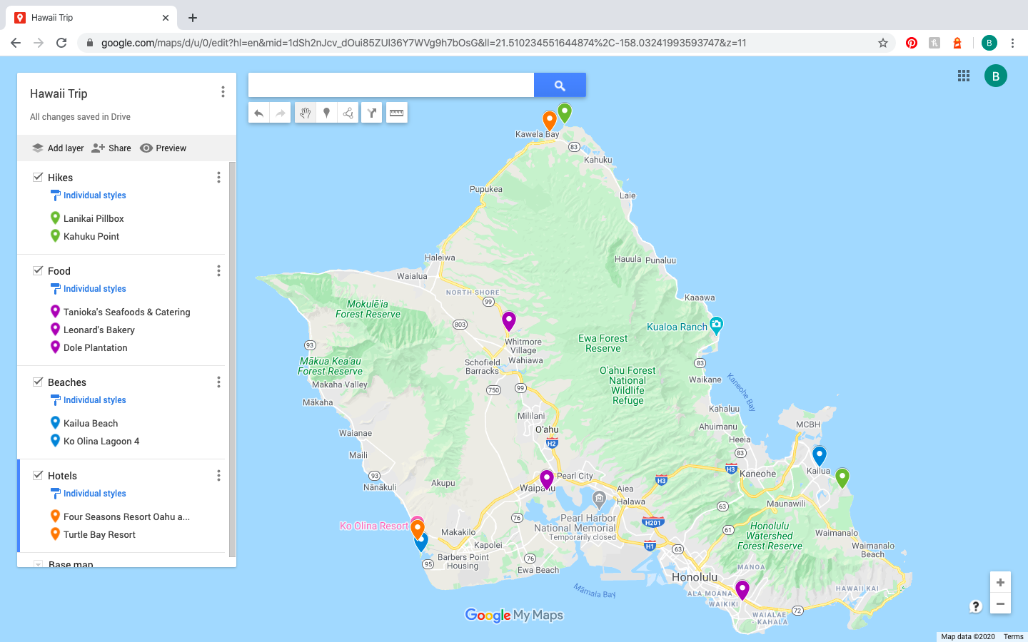color coded pins on Google Maps Trip Planner