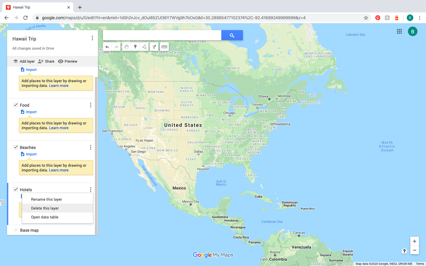how to add and delete layers on Google Maps