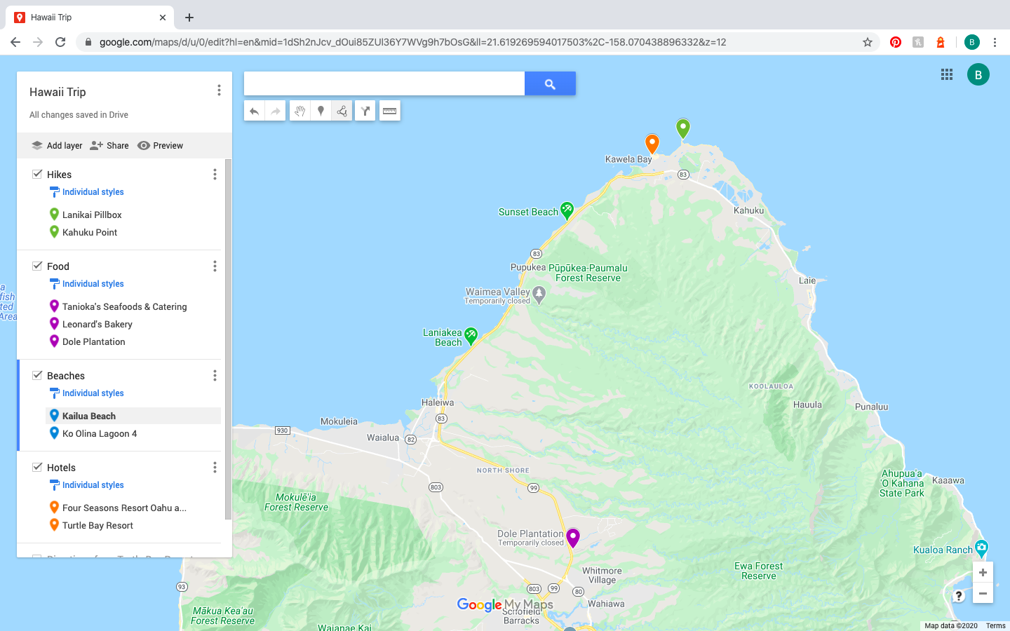 Google Map with three different color pins