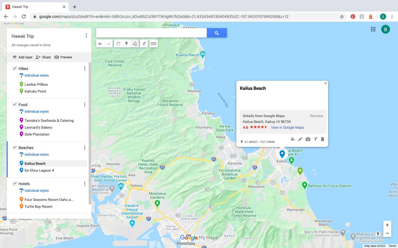 Kailua Beach photo spot mapped