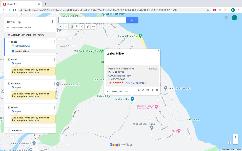 pin of Lanikai Pillbox on Google Maps Trip Planner