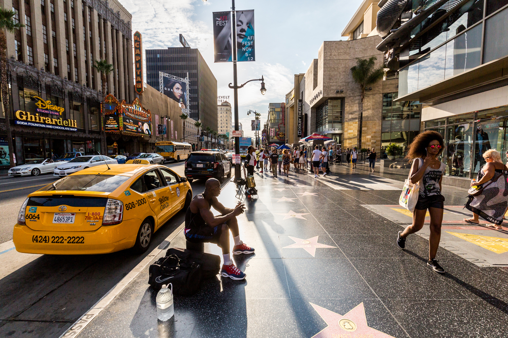 View of the Hollywood Walk of Fame
