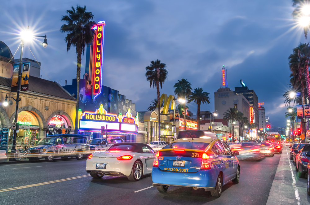 Cars on Hollywood Blvd in Los Angeles