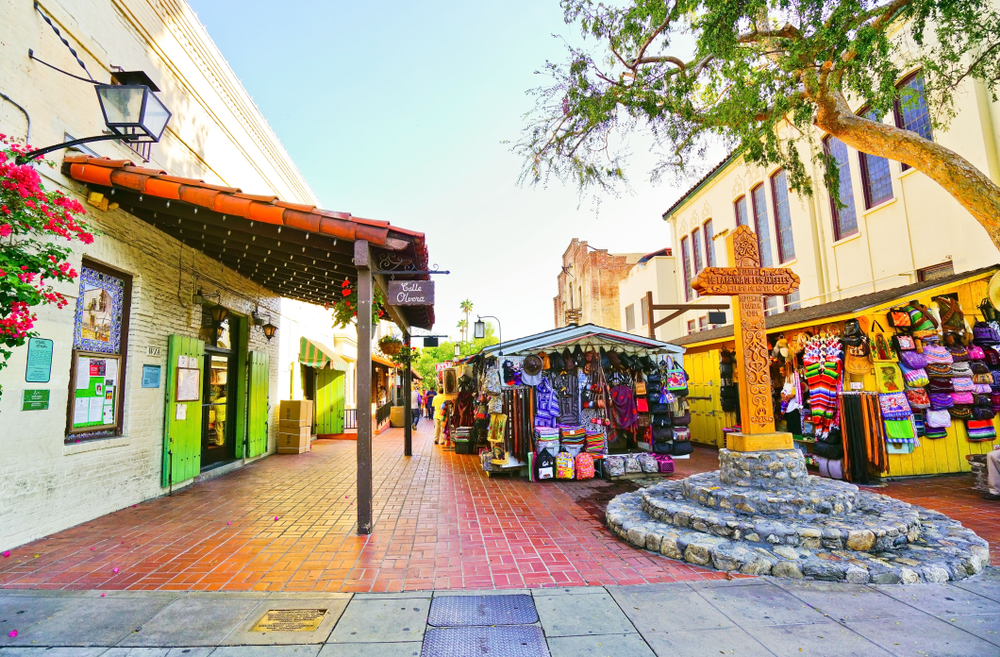 The outdoor plaza of Olvera Street Los Angeles