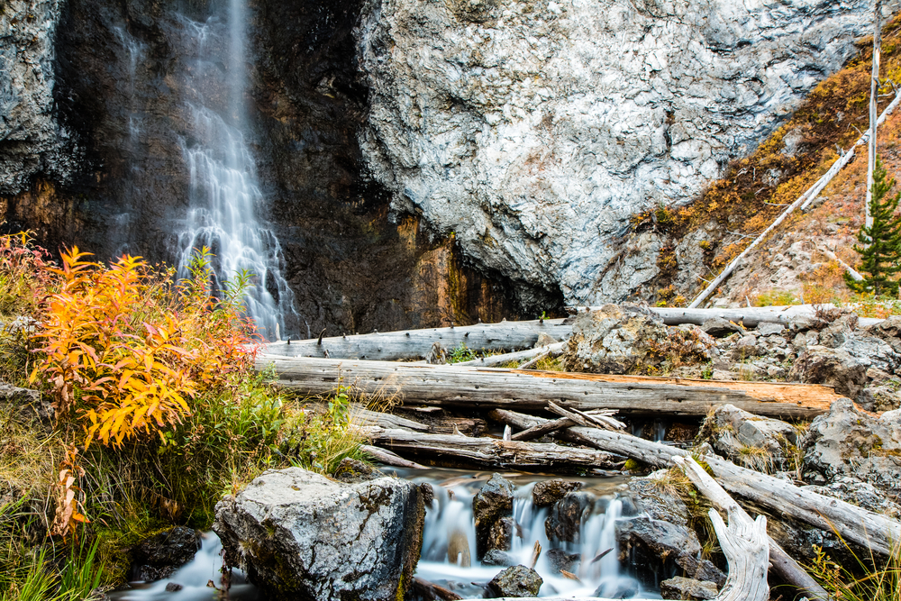 Photo of beautiful Fairy Falls for your Yellowstone road trip.