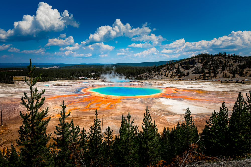 Photo of Grand Prismatic Spring in Yellowstone.