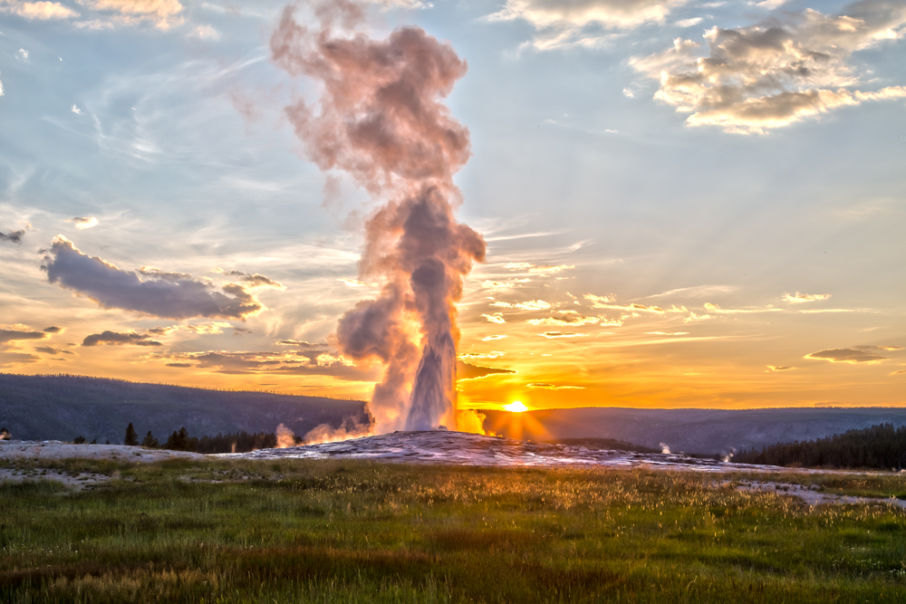Photo of Old Faithful, a Yellowstone road trip classic