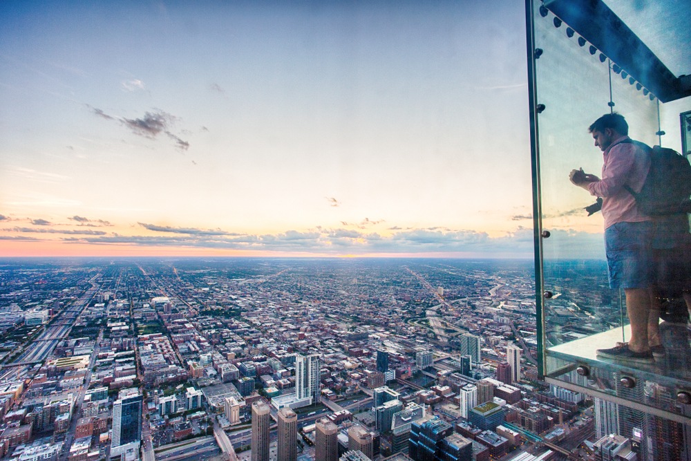 Try Stepping out on the LEDGE at Willis Tower's Skydeck on your 2 days in Chicago