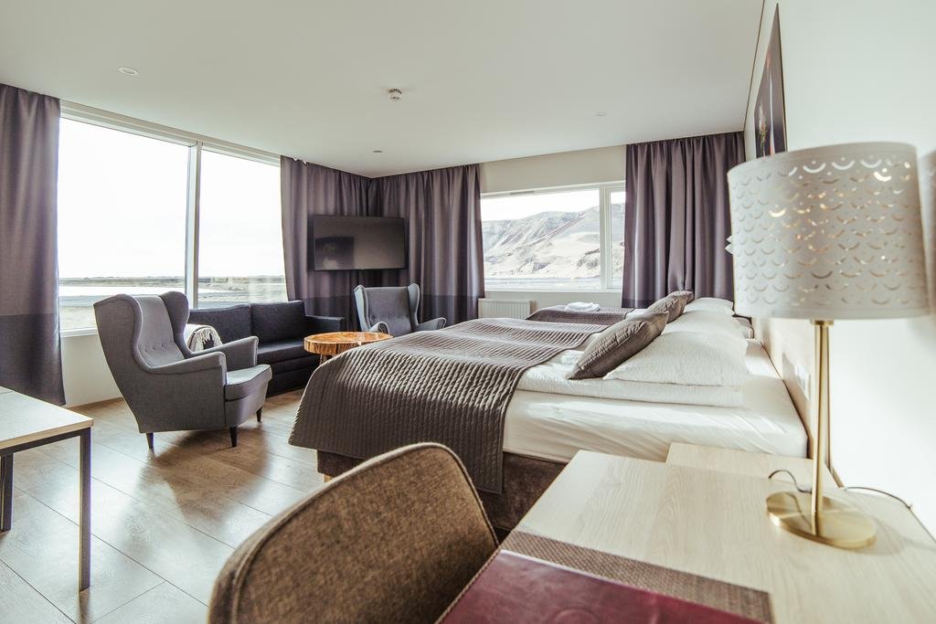 Photo of guest room at Hotel Katla in Vik Iceland. One of the hotels in Vik that has geothermal hot tubs.