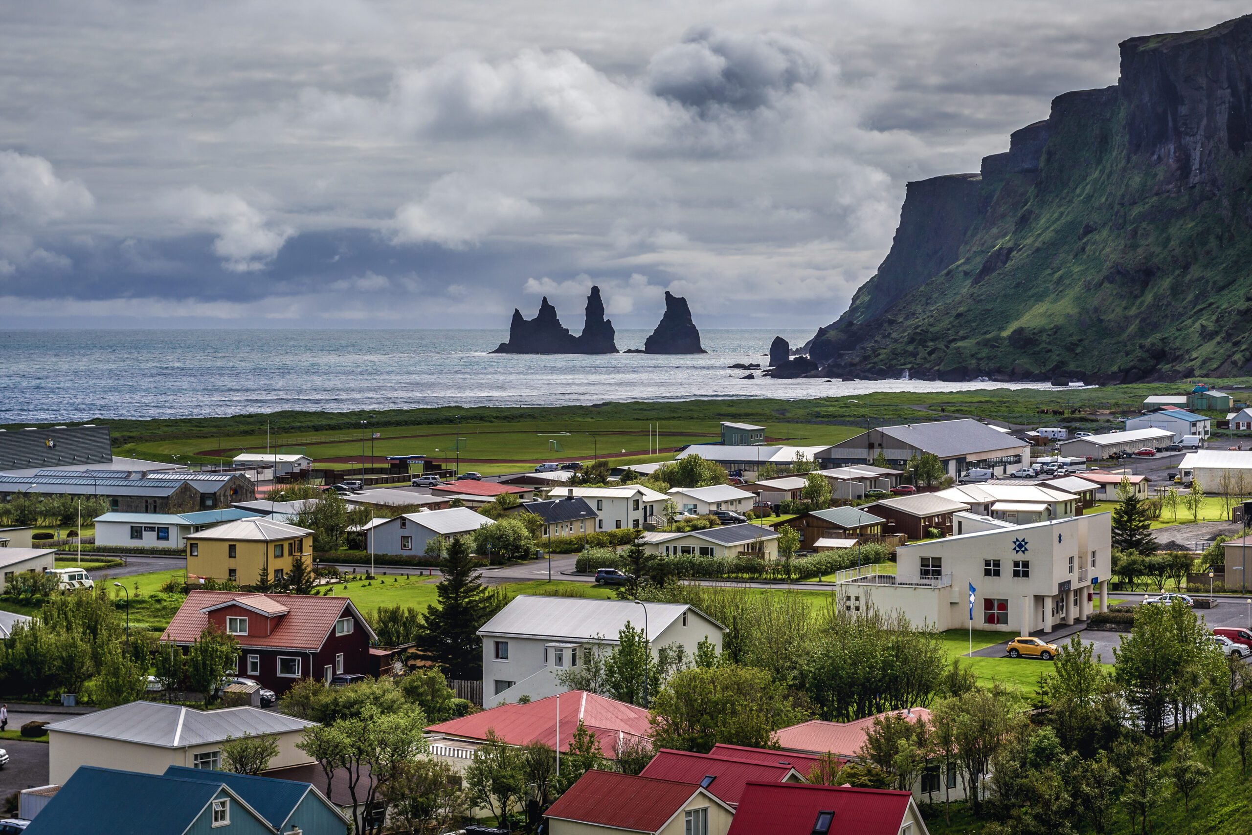 Photo of the town of Vik in Iceland.